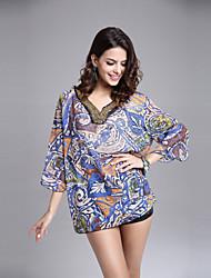 Women's Plus Sizes Embroidery Three-Quarter Sleeve Chiffon Shirt