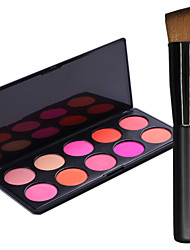 Pro Party 10 Colors Face Blush Blusher Powder Palette + 1PCS Makeup Foundation Brushes