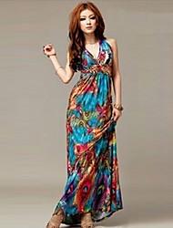 Women's Bohemia exotic paints neck long dress