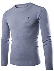 Informell Rund - Langarm - MEN - Pullover ( Baumwoll Mischung )