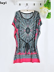 Women's Casual/Print Micro-elastic Short Sleeve Above Knee Dress (Silk)