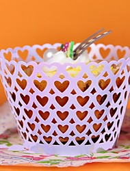 12pcs Heart Laser Cut Cupcake Wrappers Muffin Cases Bridal Baby Shower Christmas Wedding Party Cake Decoartion