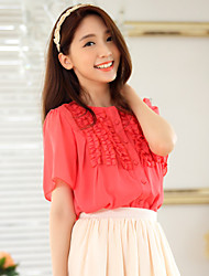Women's Solid Blue/Red Blouse , Casual Round Neck Short Sleeve Button