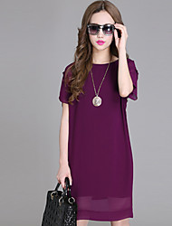 Women's Sexy/Bodycon Micro-elastic Short Sleeve Above Knee Dress (Chiffon)