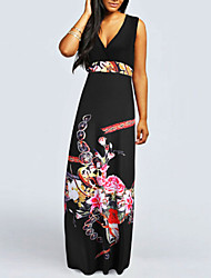 Women's Sexy Beach Party Casual V-neck Floral Maxi Dress