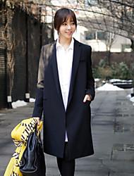 Women's Ethos Elegant Lapel Long Sleeve Straight Long Trench Coat