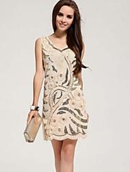 Women's Mesh Sunflower Sequined Knee Length Casual Or Mini Evening Dress