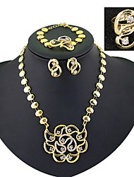 Vintage / Party / Büro-Damen-Halskette / Ohrring / Armband / Ring(Vergoldet / Zirkonia)