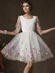 Women's Casual Stretchy ½ Length Sleeve Knee-length Dress (Chiffon/Organza)