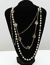 Women's Statement Necklaces Pearl Strands Crystal Pearl Rhinestone Simulated Diamond 18K gold Fashion Gold Jewelry