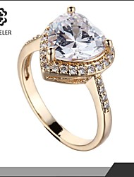 Sjeweler Lady Girls Beautiful Heart Zircon Ring