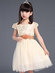 Flower Girl Dress Knee-length Cotton/Organza/Taffeta Ball Gown Sleeveless Dress