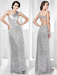 TS Couture® Formal Evening / Military Ball Dress - Silver Plus Sizes / Petite Sheath/Column One Shoulder Floor-length Stretch Satin / Sequined