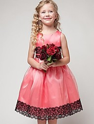 Princess Tea-length Flower Girl Dress - Satin / Tulle Sleeveless Jewel with