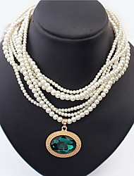Women's Pearl Necklace Statement Necklaces Layered Necklaces Gemstone Pearl Alloy Fashion White Green Royal Blue JewelrySpecial Occasion