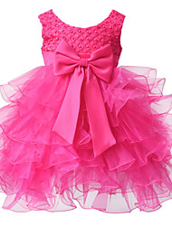 BHL Infant Girl's Hotpink Floral Dress Sleeveless Ball Dress Wedding Dresses Pageant Party Dresses For 0~2Y Baby Girls