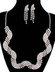 jóias de cobre prata moda longa queda totalmente strass jogo 7