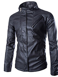 Men's Cool Casual Long Sleeve Leather Tops