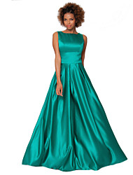 Floor-length Satin Chiffon Bridesmaid Dress -Sheath/Column Scoop