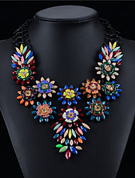 Zinc Alloy Plated With Flowers Cubic Zirconia Fashion Necklace