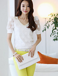 Women's Casual/Daily Simple Summer Blouse,Solid V Neck Short Sleeve White Cotton Medium