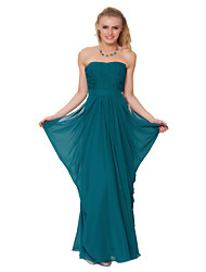 Formal Evening Dress - Clover Sheath/Column Strapless Floor-length Chiffon
