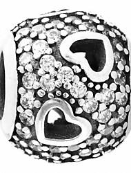 coeur stars perles d'argent pour bracelet / collier