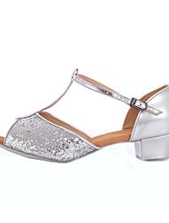 Women's/Kids' Dance Shoes Belly/Latin/Yoga/Tap/Salsa Paillette Low Heel Silver