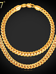 U7® Men's Gold Chain 18K Gold/Rose Gold/Platinum Plated Hip Hop Men Jewelry Gift 22'' Chain Necklace Bracelet Set