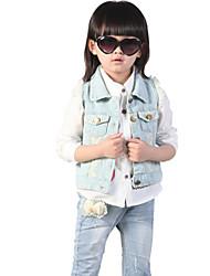 Girl's Summer/Spring/Fall Micro-elastic Medium Sleeveless Jeans/Vests (Denim/Lace)
