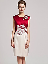 Women's Print Red/Black Dress , Print/Plus Sizes Round Neck Sleeveless Split