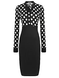 Women's Fashion Slim Polka Dot Stitching Long Sleeved  Dress