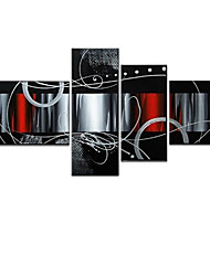 VISUAL STAR®Abstract B&W Oil Painting Hand-Painted Canvas Wall Art Handmade Oil Painting Four Panels Ready to Hang