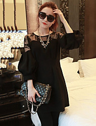 Women's Casual/Print/Lace/Cute/Plus Sizes Cut Out Embroidery Split Inelastic Long Sleeve Above Knee Slim Dress (Lace)