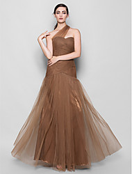 Lanting Bride® Floor-length Tulle Bridesmaid Dress - Fit & Flare One Shoulder Plus Size / Petite with Criss Cross