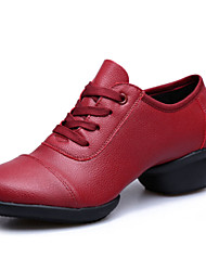 Women's Dance Shoes Sneakers Breathable Real Leather Low Heel Black/Red
