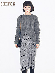 Women's Casual/Lace/Cute Stretchy Medium Long Sleeve Dress (Lace/Knitwear)SF7D25