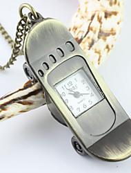 pattern scooter de bolso de quartzo analógico e colar relógio dos homens