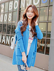 Women's Blue Cardigan , Vintage/Casual Long Sleeve