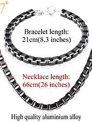 U7® Men's 2015 Fashion 26'' Necklaces Bracelets Sets High Quality Men Jewelry Black Cool Box Link Chain Jewelry Sets