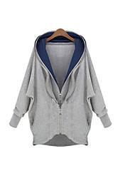 Hoodies Aux femmes Manches Longues Décontracté/Grandes Tailles Coton Epais