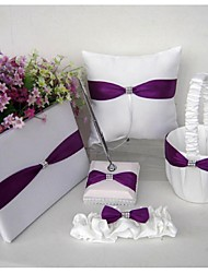 Wholesale Purple satin Wedding Ring Pillow garter rhinestone wedding favor(5 Pieces)