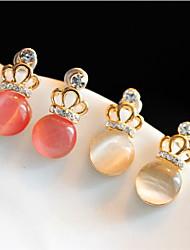 Korean Crown Opal Earrings Cute Gemstone & Crystal Stud Earrings 2015 Hot Sale