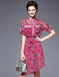 Women's Round Pocket Dresses , Silk Vintage/Party Short Sleeve SASA