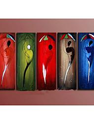 pintados à mão pintura a óleo abstrata multicolor retrato na lona 5pcs / set sem moldura