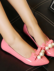 Women's Leather Flat Heel Ballerina/Pointed Toe Flats Wedding/Dress/Casual Pink/White