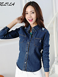 Women's  Long Sleeve Jeans Shirt