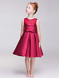 A-line Knee-length Flower Girl Dress - Polyester Jewel with Bow(s) Sash / Ribbon Pleats