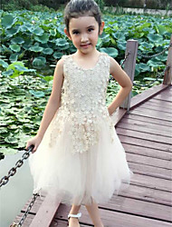 Flower Girl Dress Knee-length Cotton/Lace A-line Sleeveless Dress