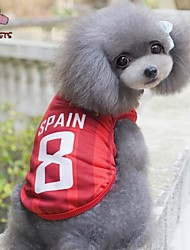 Cat / Dog Shirt / T-Shirt / Jersey Red Dog Clothes Summer Letter & Number Wedding / Cosplay